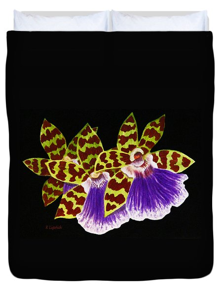 Duvet Cover featuring the painting Orchids - Jumping Jacks With Black Background by Kerri Ligatich