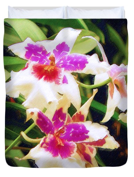 Duvet Cover featuring the painting Orchids 1 by Sandy MacGowan