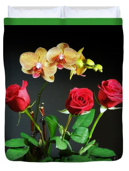 Orchids And Roses Duvet Cover by Renee Trenholm