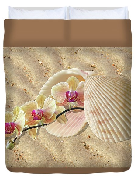 Orchids And Shells On The Beach Duvet Cover by Gill Billington
