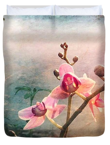 Orchids At Sunrise Duvet Cover