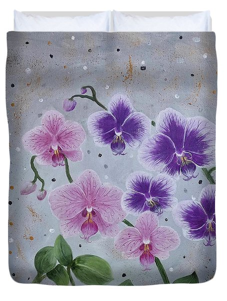 Orchids Galore Duvet Cover