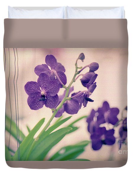 Duvet Cover featuring the photograph Orchids In Purple  by Ana V Ramirez