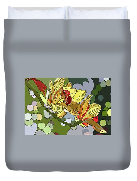 Orchids In Sunlight Duvet Cover by Jamie Downs