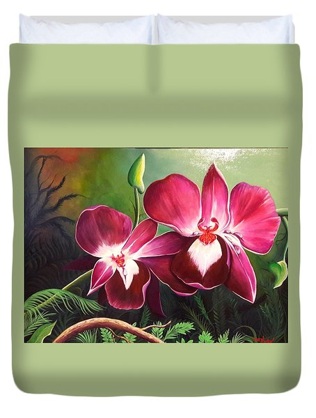 Orchids In The Night Duvet Cover