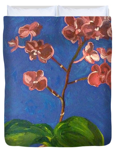 Duvet Cover featuring the painting Orchids by Joshua Redman