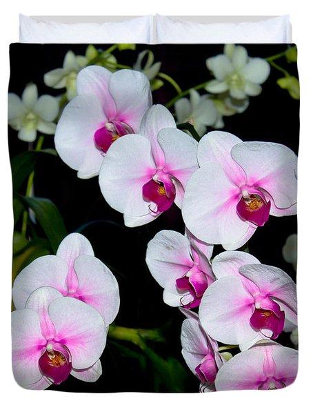 Orchids On Black Duvet Cover