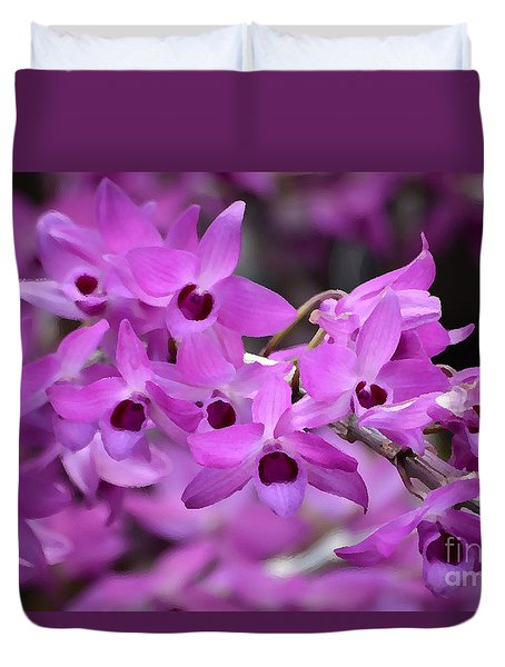 Orchids Paint Duvet Cover