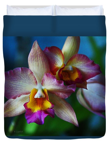 Orchids - Trio Duvet Cover by Kerri Ligatich