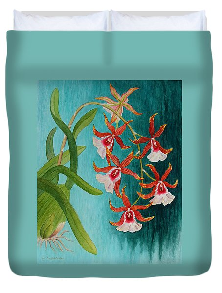 Orchids - Volcano Queen Duvet Cover by Kerri Ligatich