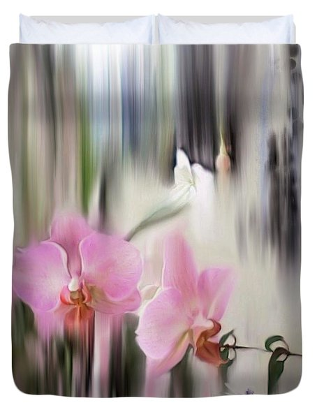 Orchids With Dragonflies Duvet Cover
