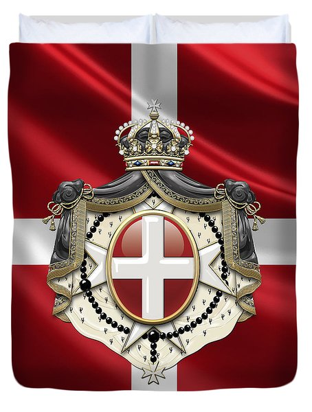 Order Of Malta Coat Of Arms Over Flag Duvet Cover