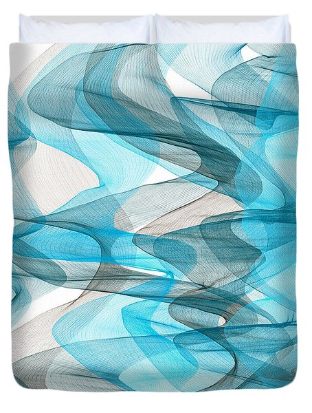 Orderly Blues And Grays Duvet Cover