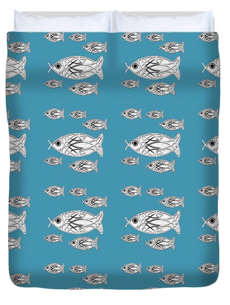 Orderly Formation - School Of Fish Duvet Cover