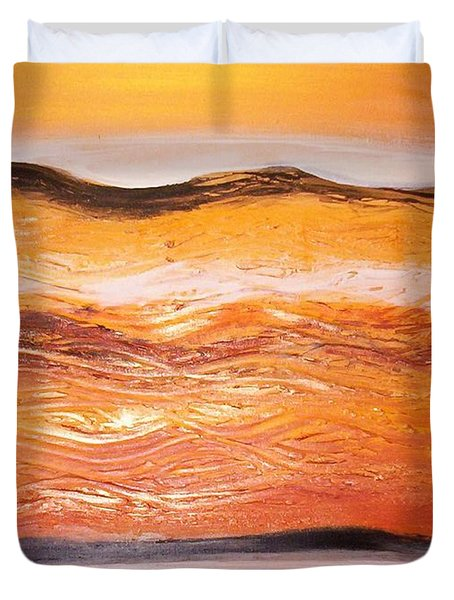 Duvet Cover featuring the painting Orders To The Morning by Winsome Gunning