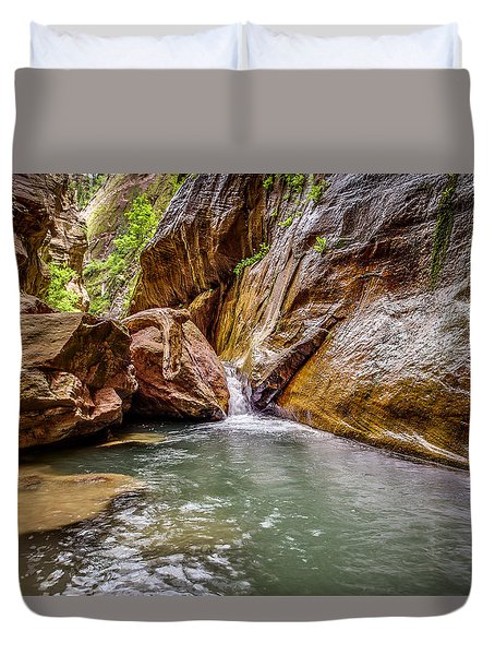 Orderville Canyon Waterfall Zion National Park Duvet Cover