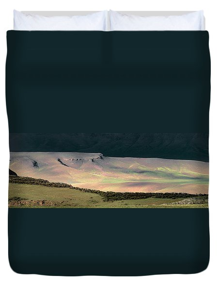 Duvet Cover featuring the photograph Oregon Canyon Mountain Layers by Leland D Howard