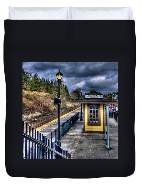 Oregon City Train Depot Duvet Cover by Thom Zehrfeld
