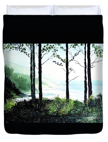 Duvet Cover featuring the painting Oregon Coast by Tom Riggs