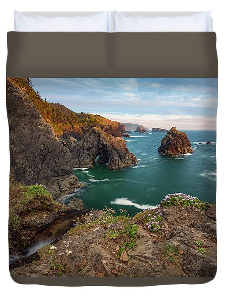 Duvet Cover featuring the photograph Oregon Coastal Scenic by Leland D Howard