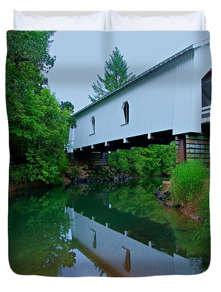Oregon Covered Bridge Duvet Cover