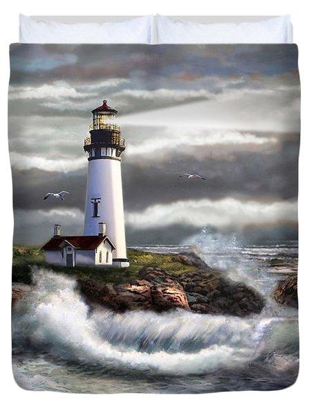 Oregon Lighthouse Beam Of Hope Duvet Cover
