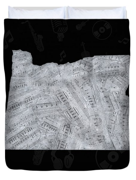 Oregon Map Music Notes 2 Duvet Cover