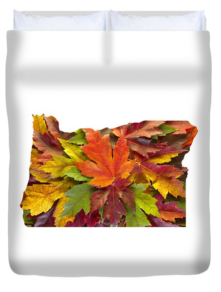 Oregon Maple Leaves Mixed Fall Colors Background Duvet Cover