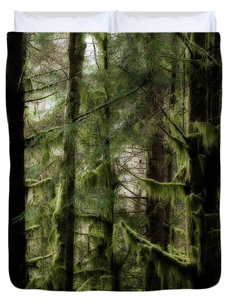 Oregon Old Growth Coastal Forest Duvet Cover