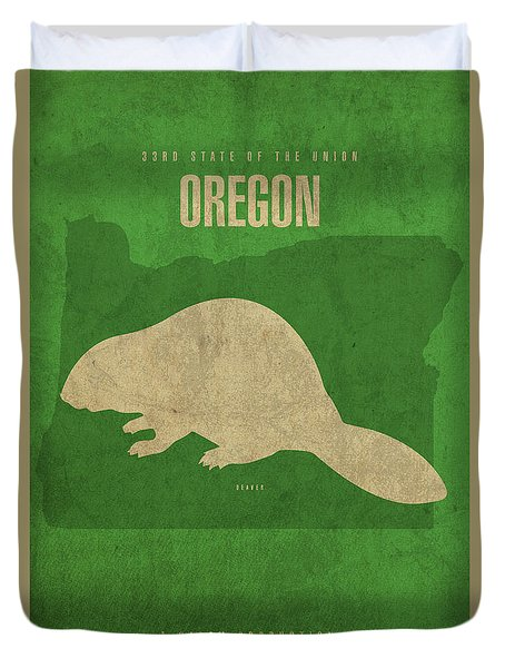 Oregon State Facts Minimalist Movie Poster Art Duvet Cover by Design Turnpike