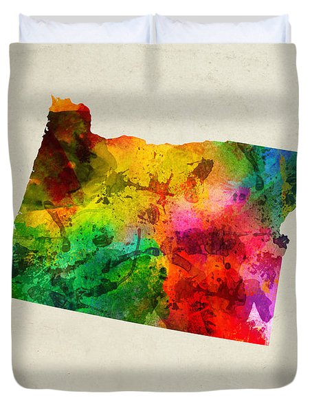 Oregon State Map 01 Duvet Cover by Aged Pixel