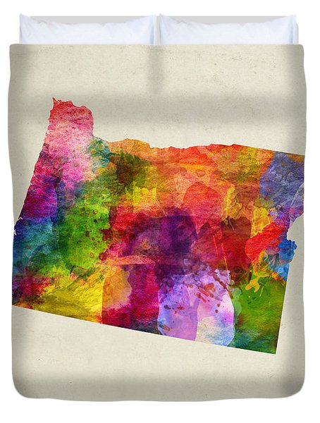 Oregon State Map 02 Duvet Cover by Aged Pixel