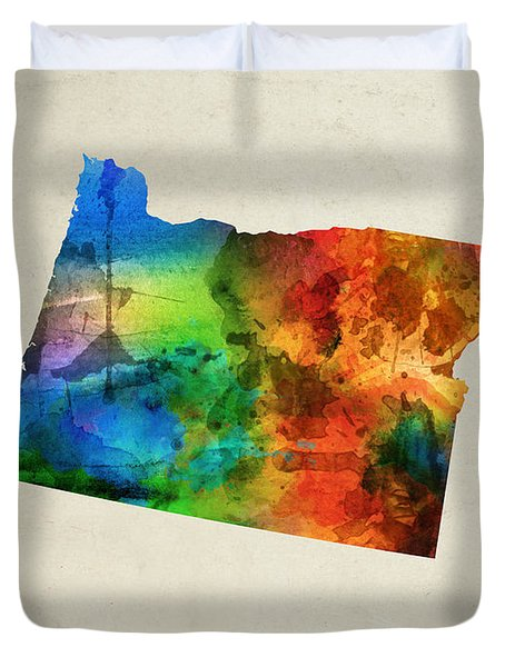 Oregon State Map 03 Duvet Cover by Aged Pixel