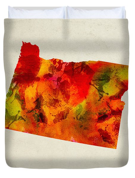 Oregon State Map 04 Duvet Cover by Aged Pixel