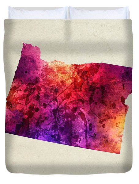 Oregon State Map 05 Duvet Cover by Aged Pixel