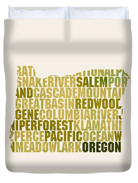 Oregon State Outline Word Map Duvet Cover by Design Turnpike