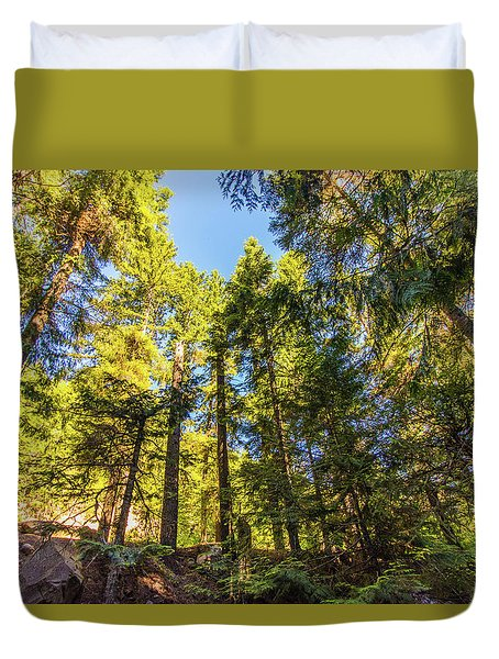 Duvet Cover featuring the photograph Oregon Trees by Jonny D