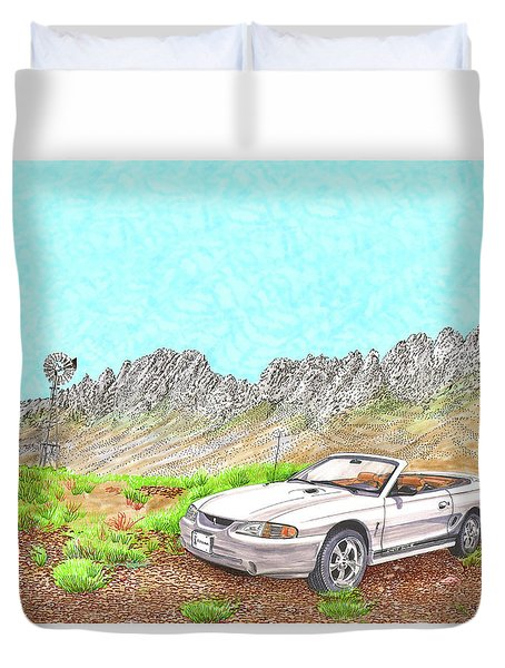 Duvet Cover featuring the painting Organ Mountain Mustang by Jack Pumphrey
