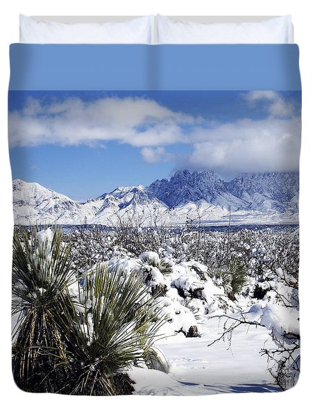 Duvet Cover featuring the photograph Winter's Blanket Organ Mountains by Kurt Van Wagner