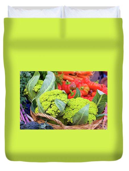 Organic Green Cauliflower At The Farmer's Market Duvet Cover