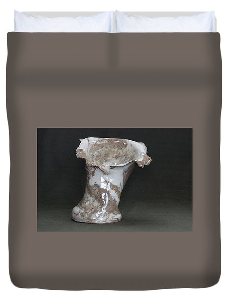 Organic Marbled Clay Ceramic Vase Duvet Cover by Suzanne Gaff