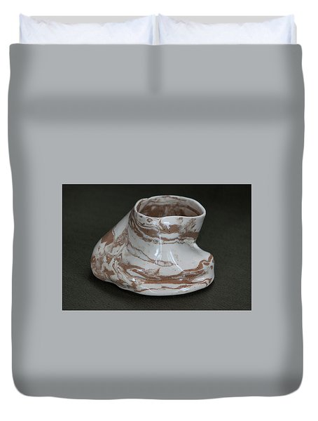 Organic Marbled Clay Ceramic Vessel Duvet Cover by Suzanne Gaff