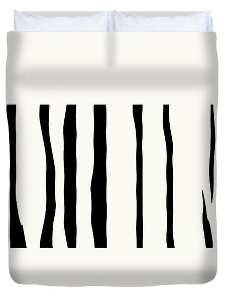 Organic No 12 Black And White Line Abstract Duvet Cover