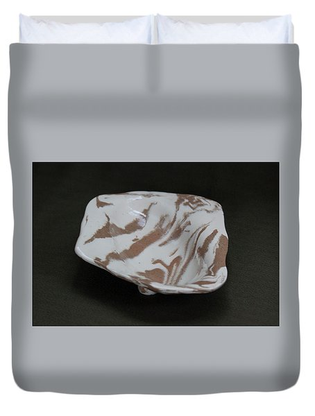 Organic Oval Marbled Ceramic Dish Duvet Cover by Suzanne Gaff