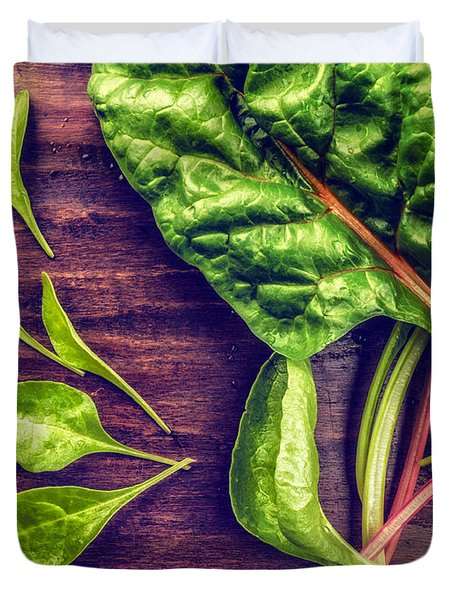 Duvet Cover featuring the photograph Organic Rainbow Chard by TC Morgan
