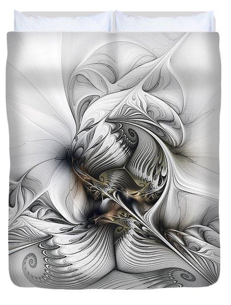 Duvet Cover featuring the digital art Organic Spiral Tower Construction by Karin Kuhlmann