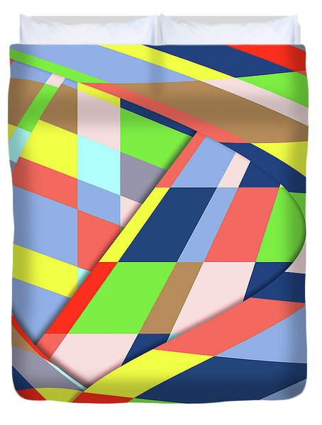 Duvet Cover featuring the digital art Organized Cubic Chaos by Bruce Stanfield