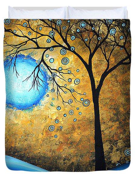 Orginal Abstract Landscape Painting Blue Fire By Madart Duvet Cover by Megan Duncanson