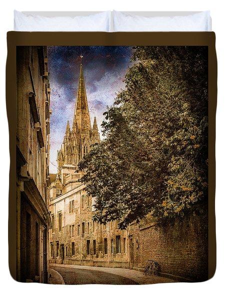 Oxford, England - Oriel Street Duvet Cover
