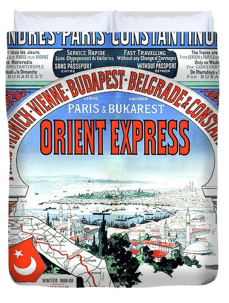 Orient Express Railway Route, Travel Poster Duvet Cover